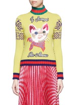 Cat embroidery wool turtleneck sweater