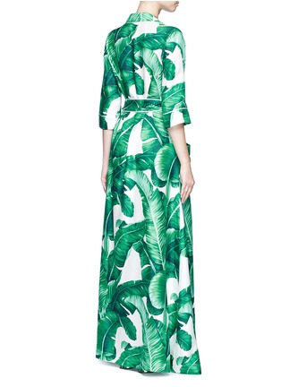 Back View - Click To Enlarge - Dolce & Gabbana - Banana leaf print silk twill maxi dress