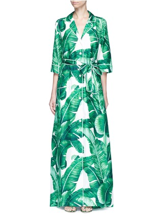 Main View - Click To Enlarge - Dolce & Gabbana - Banana leaf print silk twill maxi dress