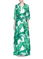 Banana leaf print silk twill maxi dress