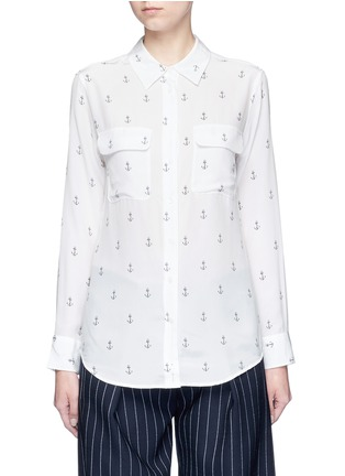 Main View - Click To Enlarge - Equipment - 'Slim Signature' anchor print silk shirt