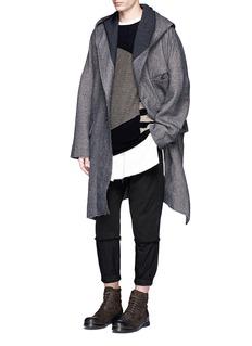 Ziggy ChenDrop shoulder hooded coat
