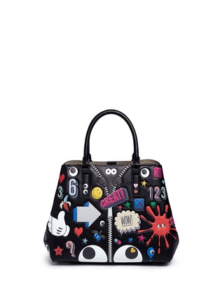 Back View - Click To Enlarge - Anya Hindmarch - 'All Over Stickers Small Featherweight Ebury' leather tote