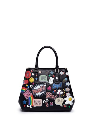 Main View - Click To Enlarge - Anya Hindmarch - 'All Over Stickers Small Featherweight Ebury' leather tote