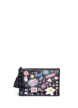 Main View - Click To Enlarge - Anya Hindmarch - 'All Over Georgiana' embossed leather tassel clutch