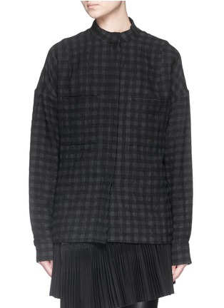 Main View - Click To Enlarge - Haider Ackermann - Gingham check wool-linen flannel oversize shirt