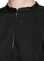 'Miya' wool voile ruche cape back blouse