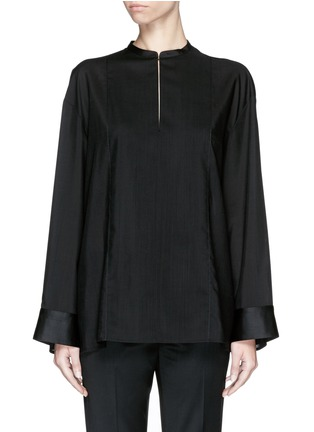 首图 - 点击放大 - THE ROW - 'Miya' wool voile ruche cape back blouse