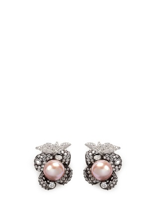 Main View - Click To Enlarge - Anabela Chan - 'Mini Blossom' pearl diamond pavé 18k black gold earrings
