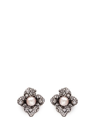 Main View - Click To Enlarge - Anabela Chan - Black Blossom' pearl diamond 18k black gold earrings