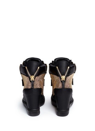 Back View - Click To Enlarge - Giuseppe Zanotti Design - 'Lorenz' stud pavé leather wedge sneakers