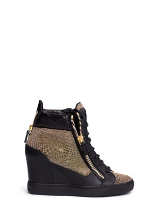Main View - Click To Enlarge - Giuseppe Zanotti Design - 'Lorenz' stud pavé leather wedge sneakers