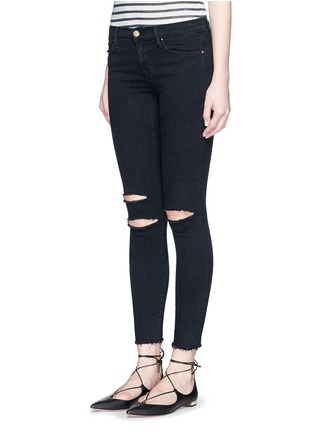 Front View - Click To Enlarge - J Brand - 'Photo Ready' ripped knee cropped skinny jeans