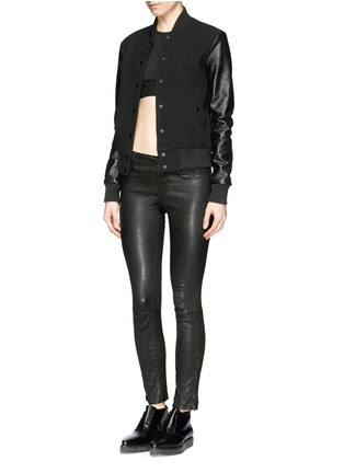 Figure View - Click To Enlarge - T By Alexander Wang - Stretch piqué sports bra
