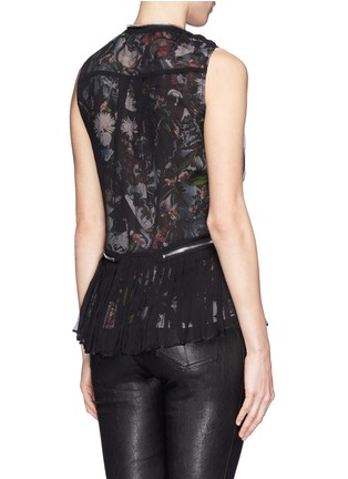 Back View - Click To Enlarge - McQ Alexander McQueen - 'Festival Floral' zip waist shirred chiffon blouse