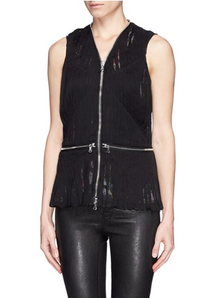 Front View - Click To Enlarge - McQ Alexander McQueen - 'Festival Floral' zip waist shirred chiffon blouse