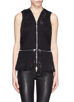 Main View - Click To Enlarge - McQ Alexander McQueen - 'Festival Floral' zip waist shirred chiffon blouse