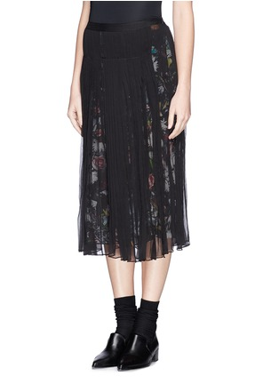 Front View - Click To Enlarge - McQ Alexander McQueen - 'Festival Floral' underlay plissé chiffon skirt