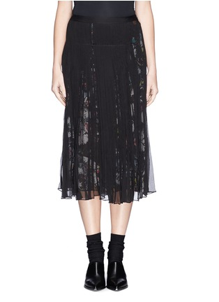 Main View - Click To Enlarge - McQ Alexander McQueen - 'Festival Floral' underlay plissé chiffon skirt