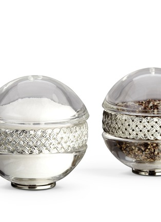 Detail View - Click To Enlarge - L'Objet - Braid Salt and Pepper Shaker Set - Platinum