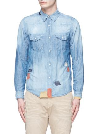 首图 - 点击放大 - FDMTL - 水洗补丁棉混亚麻牛仔衬衫