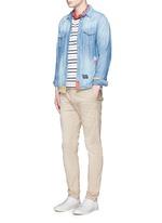 Distressed patchwork cotton-linen denim shirt