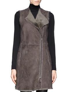 ARMANI COLLEZIONIShearling asymmetrical zip coat