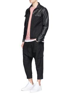 Den Im By Siki ImLeather panel twill shirt jacket