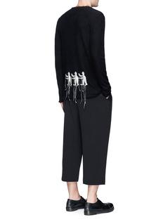 Ziggy ChenGraphic intarsia raw edge cashmere sweater