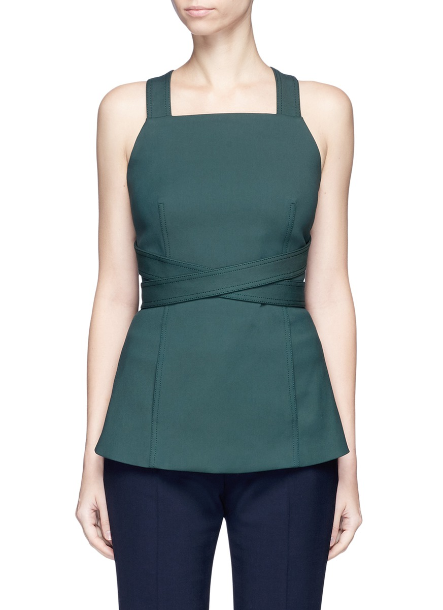 Wrapround crossback sash apron crepe top by Rosetta Getty