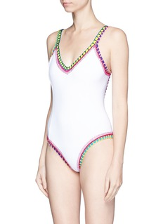 Kiini 'Yaz' crochet trim scoop back one-piece swimsuit