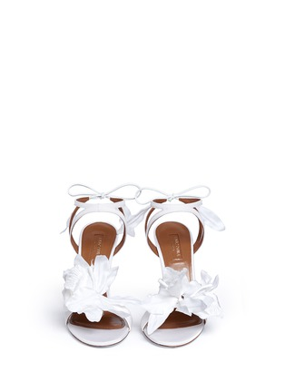 Front View - Click To Enlarge - Aquazzura - 'Floral' 3D satin floral bridal sandals