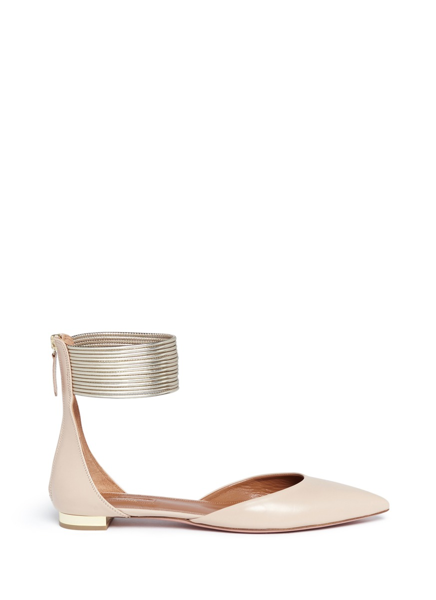 Hello Lover metallic anklet leather flats by Aquazzura