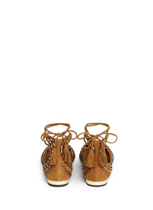 Back View - Click To Enlarge - Aquazzura - 'Christy Folk' stitched lace-up suede flats