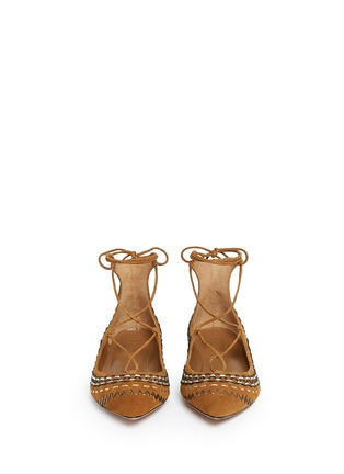 Front View - Click To Enlarge - Aquazzura - 'Christy Folk' stitched lace-up suede flats