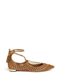 Aquazzura 'Christy Folk' stitched lace-up suede flats