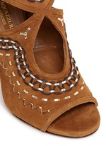 'Sexy Thing Folk 105' leather embroidered suede sandals
