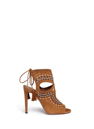 Main View - Click To Enlarge - Aquazzura - 'Sexy Thing Folk 105' leather embroidered suede sandals