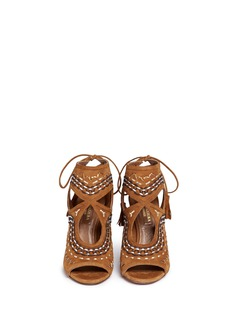 Aquazzura 'Sexy Thing Folk 105' leather embroidered suede sandals