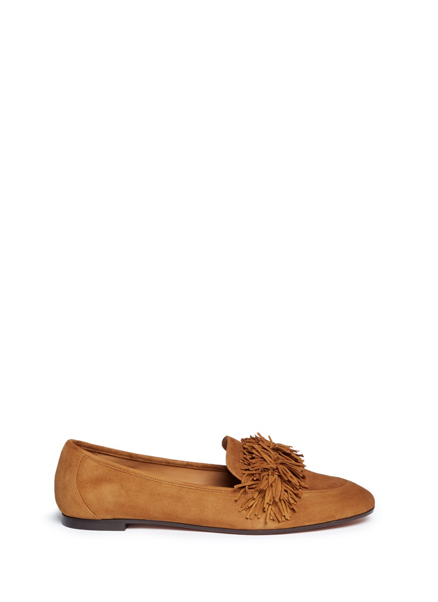 Wild fringe band suede loafers by Aquazzura