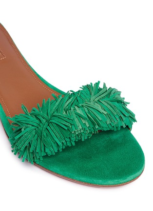 Detail View - Click To Enlarge - Aquazzura - 'Wild Thing' fringe suede slide sandals