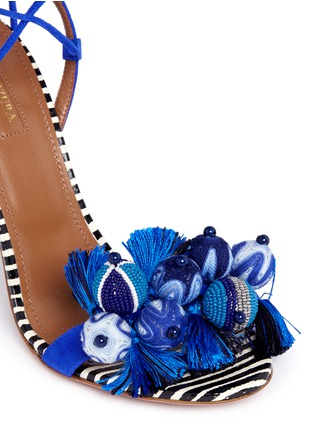 Detail View - Click To Enlarge - Aquazzura - 'Tropicana' orb and tassel embellished suede sandals