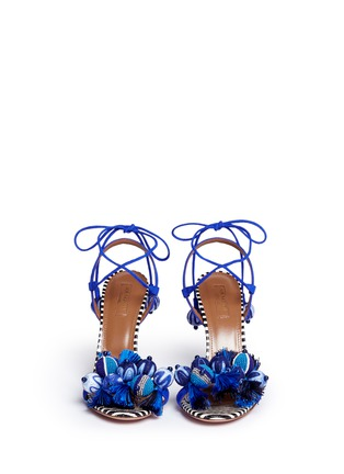 Front View - Click To Enlarge - Aquazzura - 'Tropicana' orb and tassel embellished suede sandals