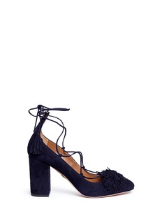 Aquazzura 'Wild 85' lace-up fringe suede pumps
