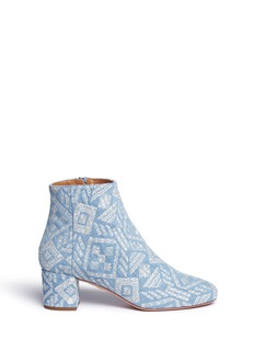 Aquazzura 'Brooklyn' geometric embroidered denim boots