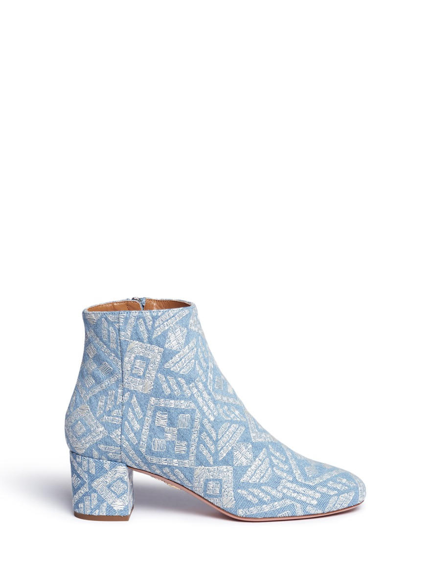 Brooklyn geometric embroidered denim boots by Aquazzura