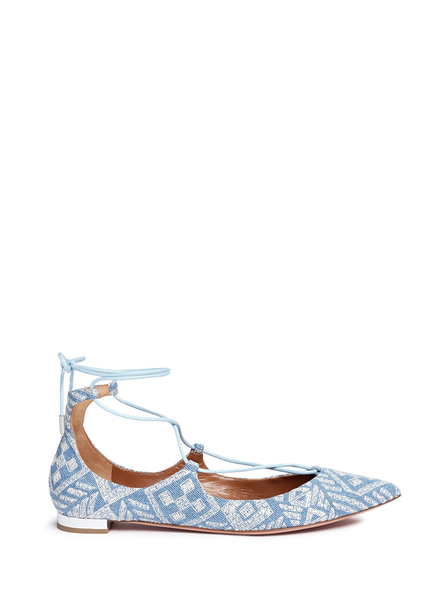 Christy geometric embroidered denim lace-up flats by Aquazzura