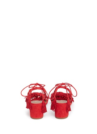 Back View - Click To Enlarge - Aquazzura - 'Wild Thing' fringe block heel suede sandals
