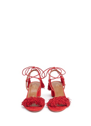 Front View - Click To Enlarge - Aquazzura - 'Wild Thing' fringe block heel suede sandals