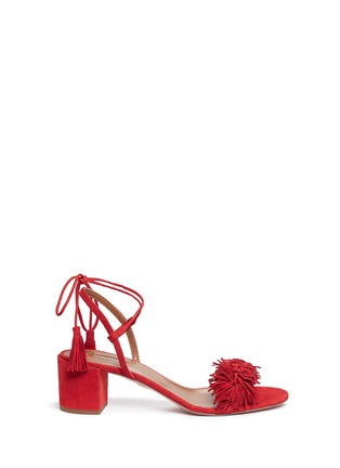 Main View - Click To Enlarge - Aquazzura - 'Wild Thing' fringe block heel suede sandals